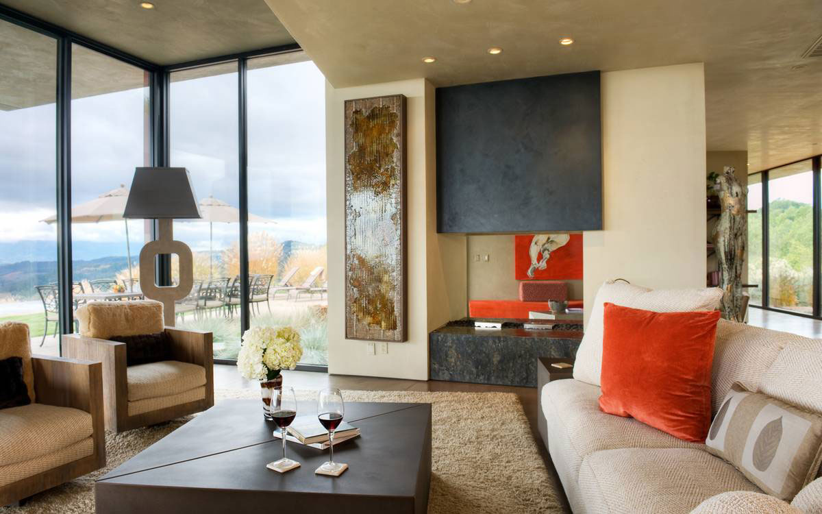 Fireplace, Coffee Table, Sofa, Chairs, Art, Home in the Sonoma Valley, California