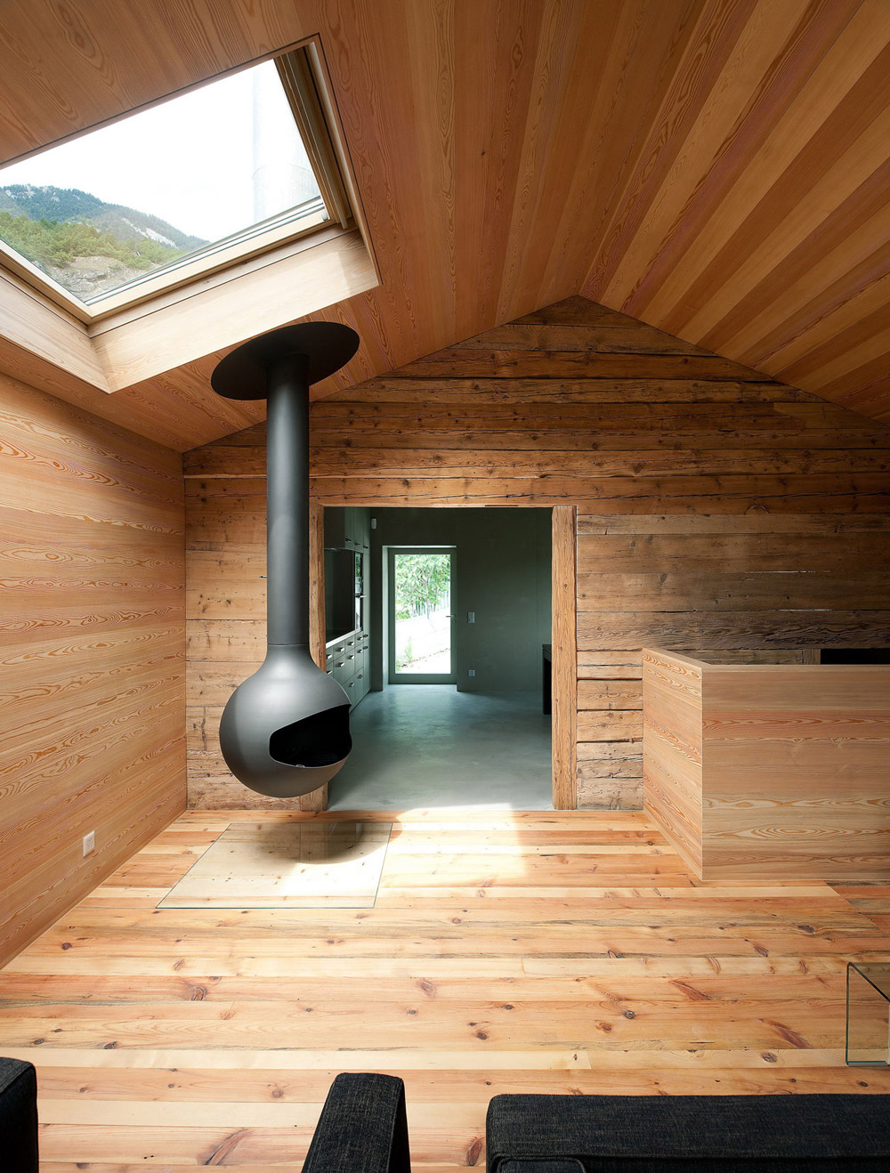 Fireplace, Wooden Flooring, Walls, Ceiling, Home Remodel in Vétroz, Switzerland