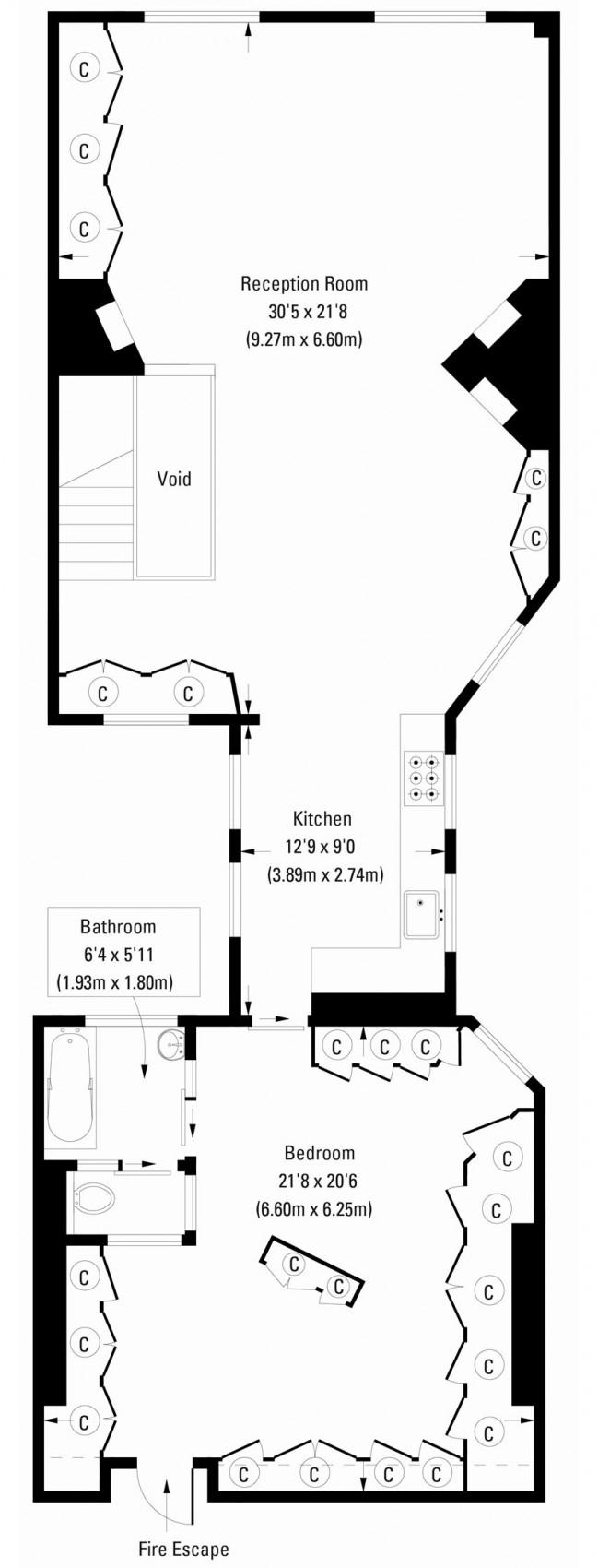 Floor Plan, Archer Street Apartment in London, England