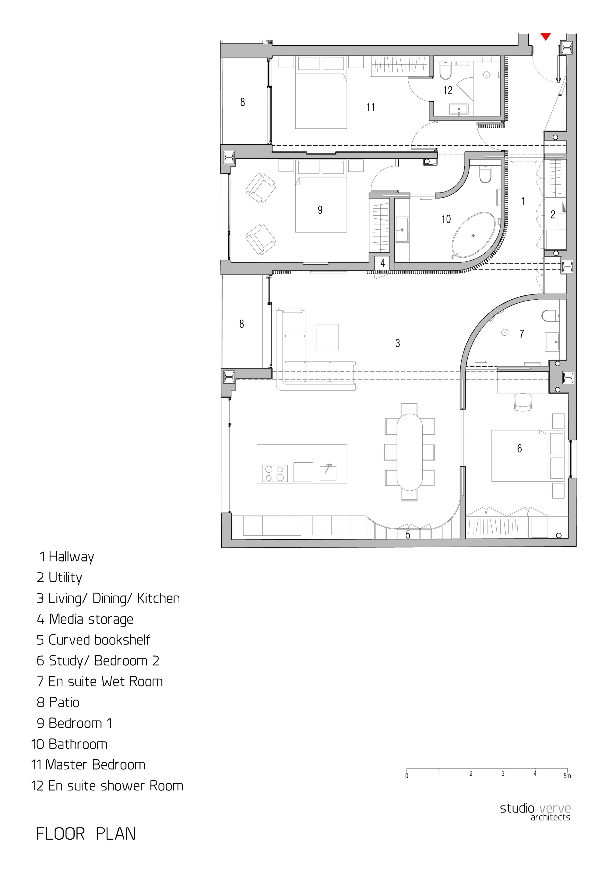 Floor Plan, Warehouse Style Apartment in Shoreditch, London