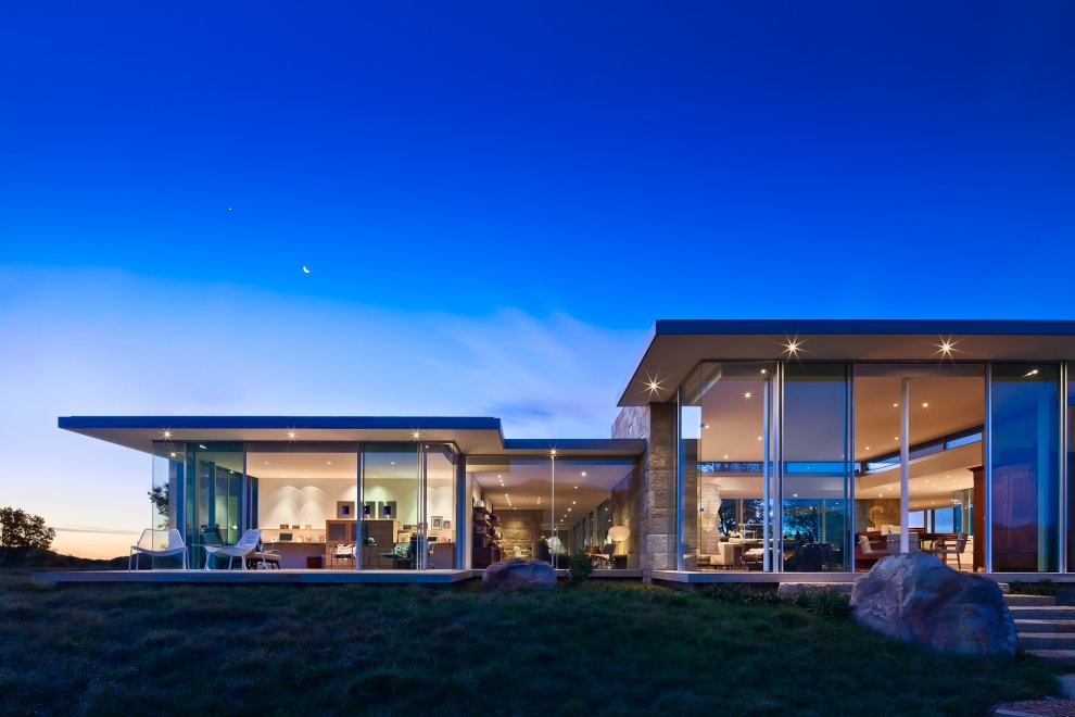 Floor-to-Ceiling Windows, Lighting, Hilltop Home in Carpinteria, California