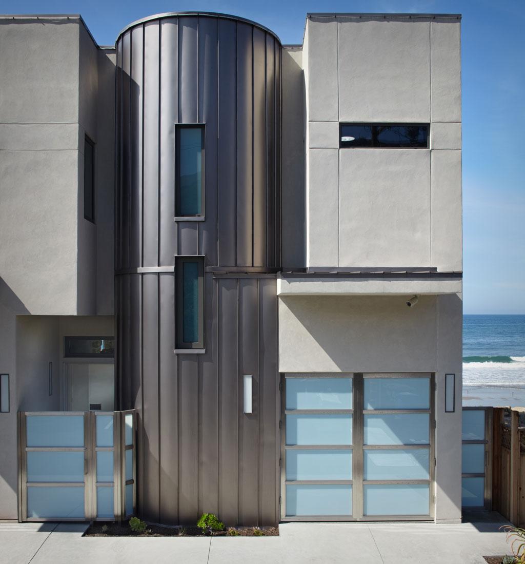 Garage, Entrance, Eco-Friendly Beach House in California