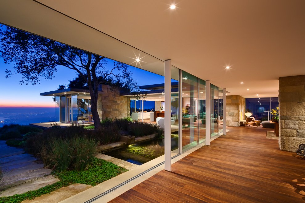 Glass Sliding Doors, Lighting, Views, Hilltop Home in Carpinteria, California