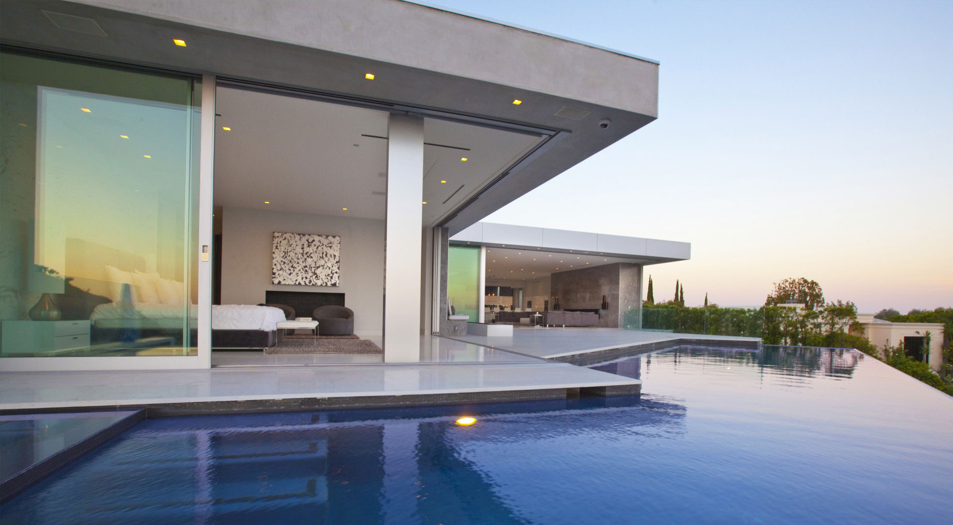 Glass Sliding Doors, Terrace, Infinity Pool, Tanager Residence in West Hollywood