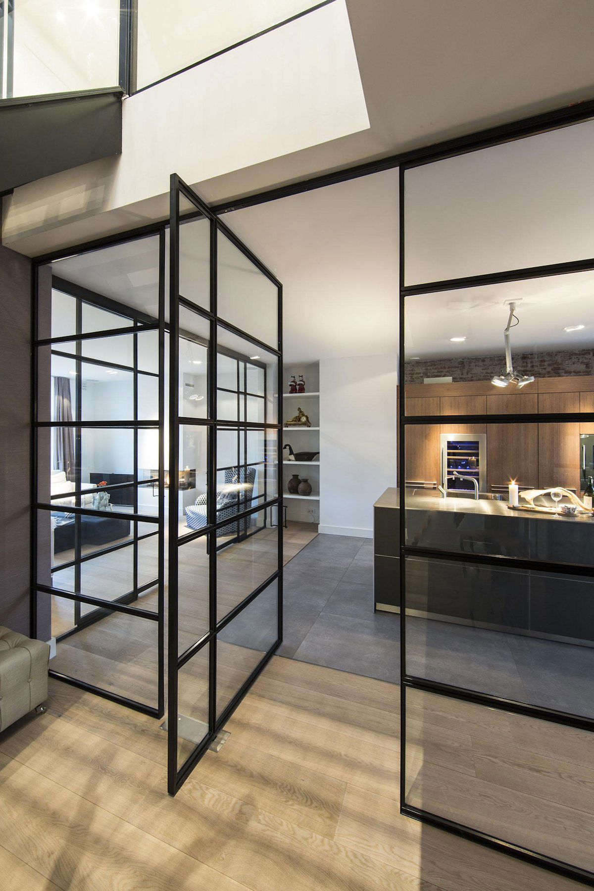 Glass Wall, Door Kitchen, Apartment in Amsterdam
