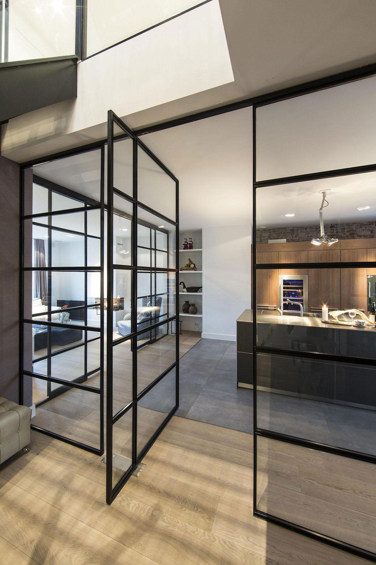 Glass Wall, Door Kitchen, Apartment in Amsterdam