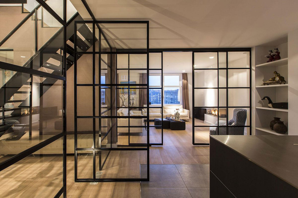 Glass Walls, Living Room, Kitchen, Apartment in Amsterdam