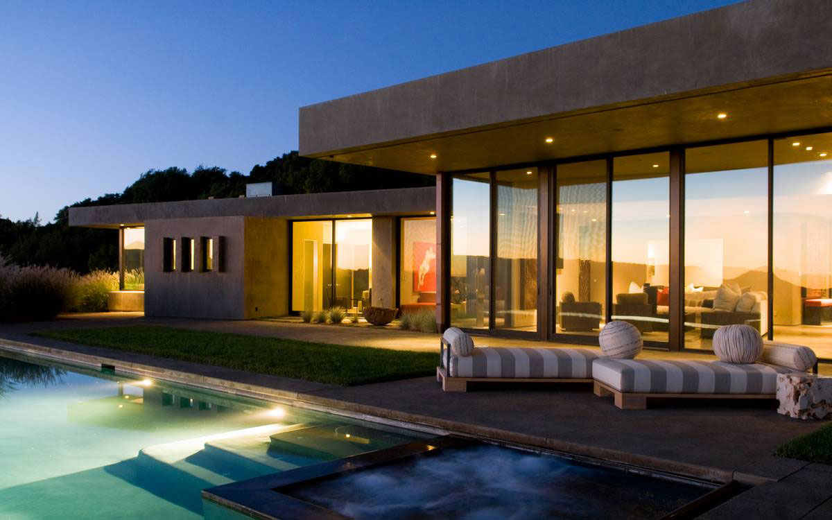 Jacuzzi, Hot Tub, Terrace, Pool, Lighting, Evening, Home in the Sonoma Valley, California