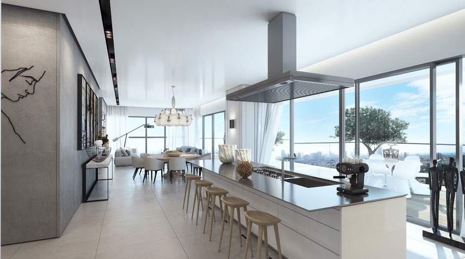 Breakfast Bar, Kitchen, Floor-to-Ceiling Windows, Apartment in the W Boutique Tower, Tel Aviv