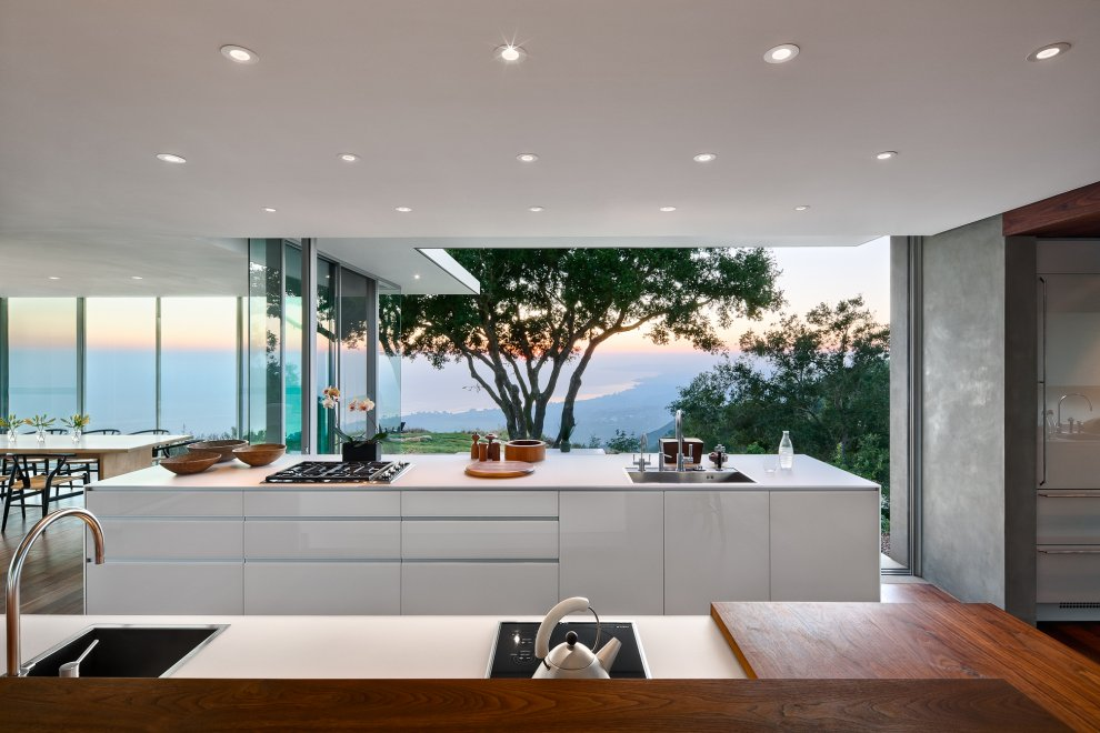 Kitchen Island, Views, Hilltop Home in Carpinteria, California