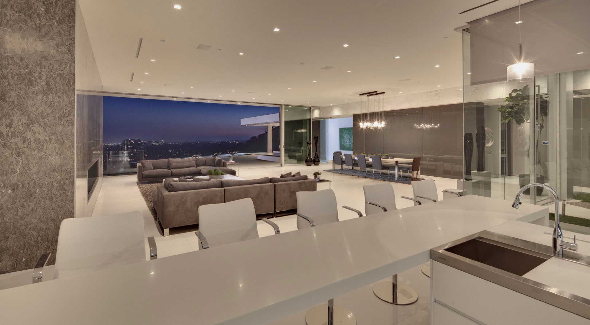 Kitchen, Living, Dining, Open Plan Living, Tanager Residence in West Hollywood