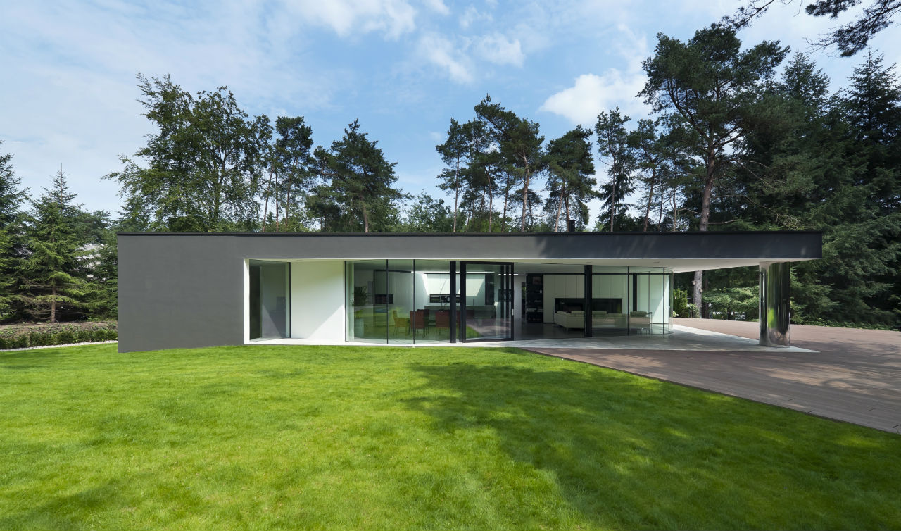 Lawn, Side Facade, Modern Villa in Hattem, The Netherlands