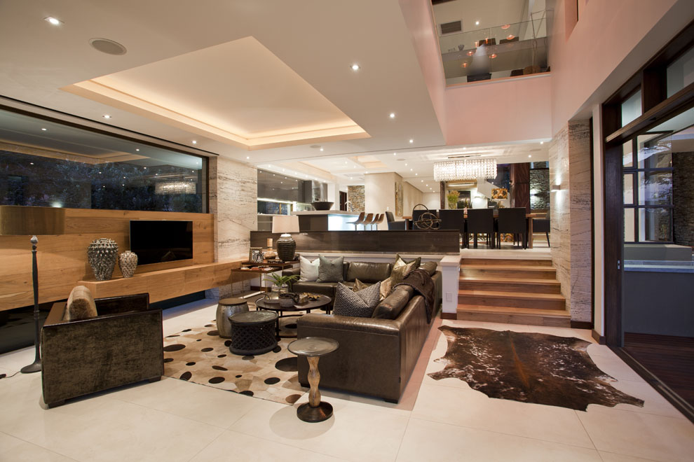 Living Room, Sofas, Rug, Glass Walls, Home in Zimbali, South Africa