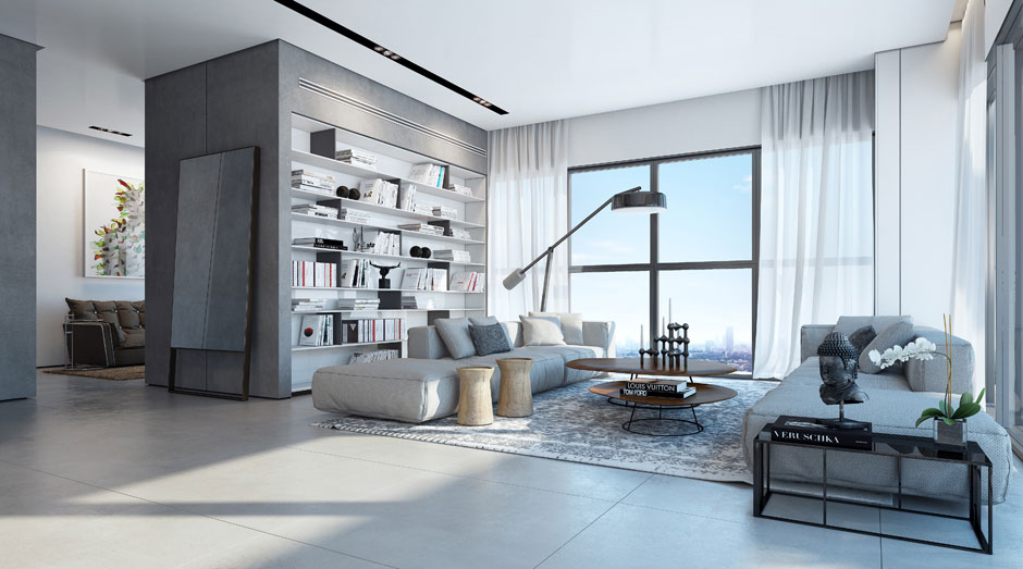 Living Room, Apartment in the W Boutique Tower, Tel Aviv