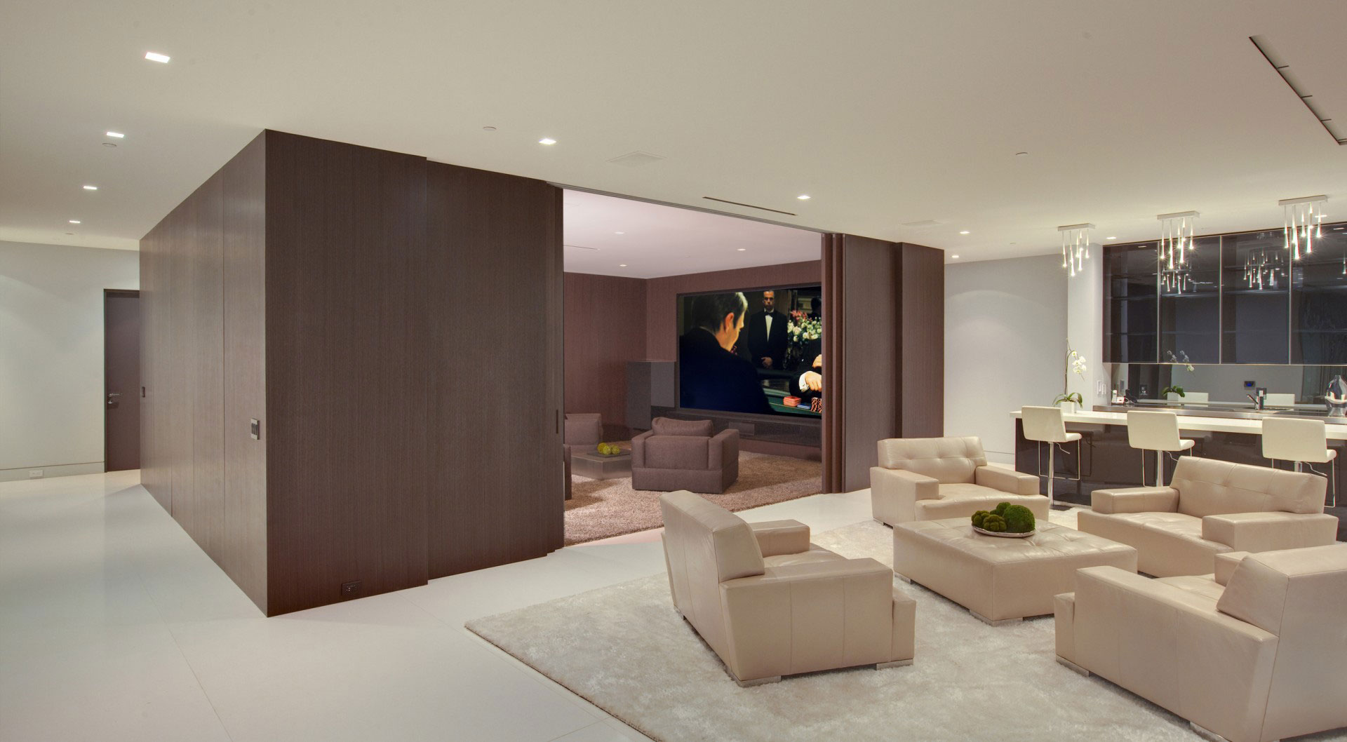 Living Space, Home Cinema, Tanager Residence in West Hollywood