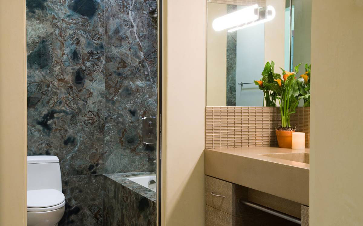 Bathroom, Marble Tiles, Home in the Sonoma Valley, California