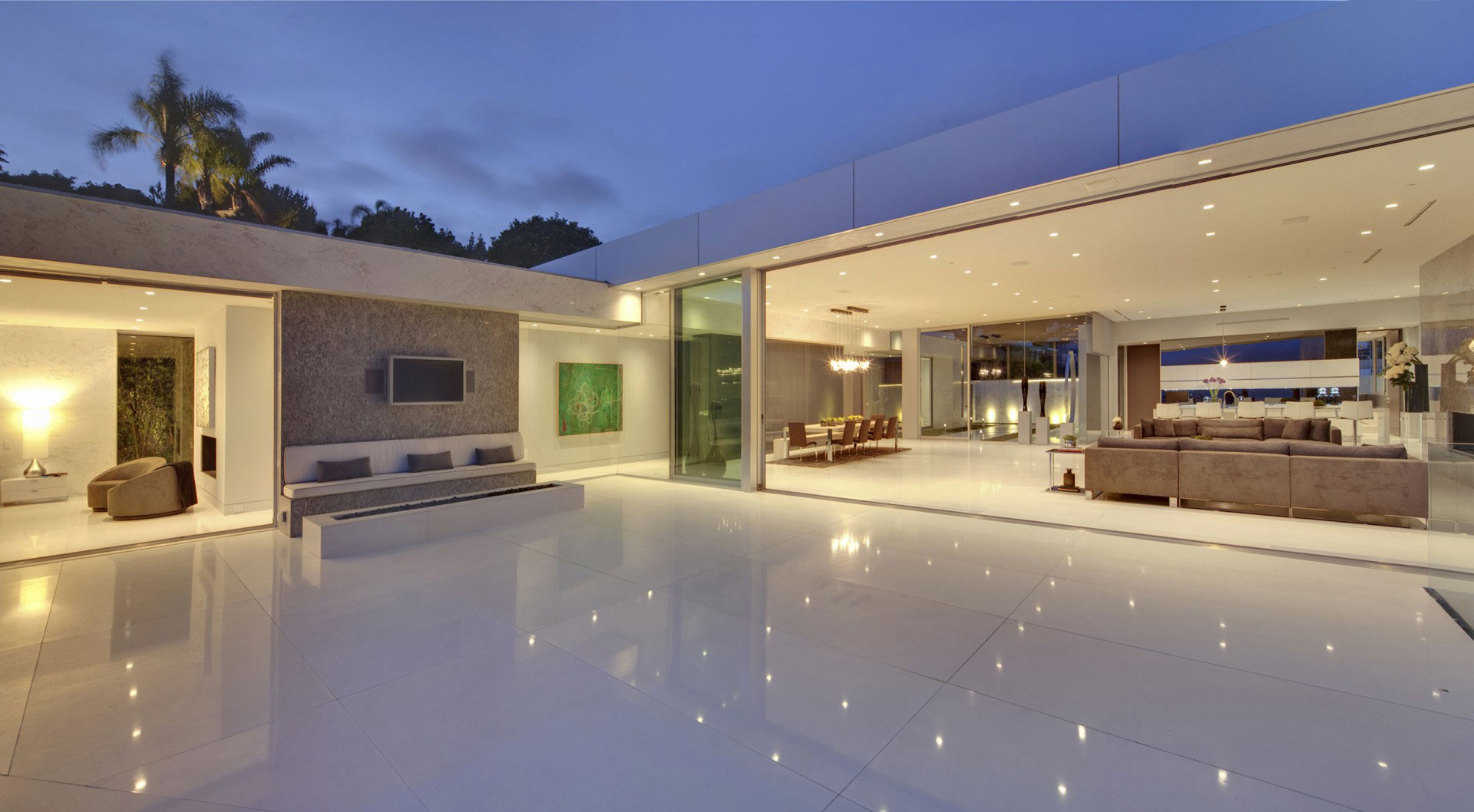 Marble Tiles, Terrace, Seamless Indoor / Outdoor Integration, Tanager Residence in West Hollywood