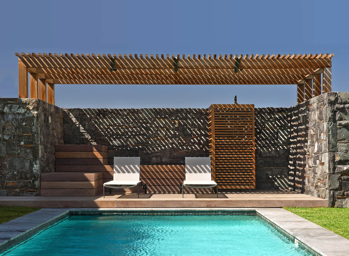 Natural Stone Wall, Pool, Veranda, Beach Front Home in Cape Town, South Africa