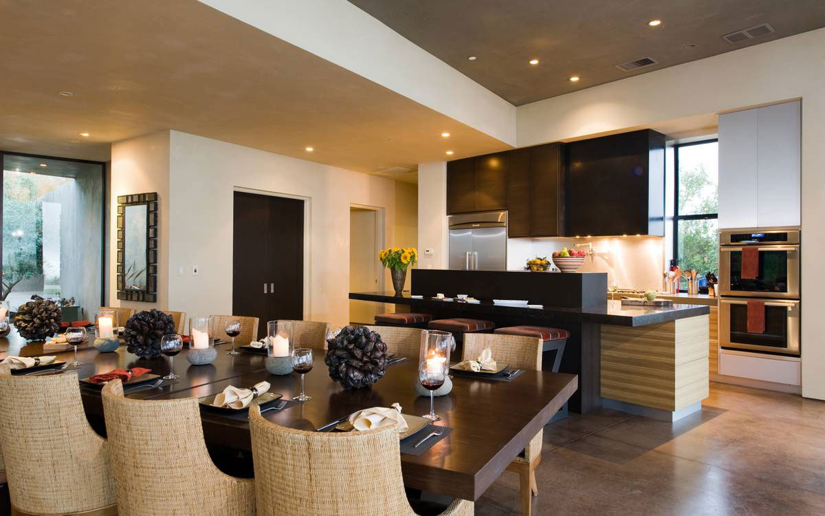 Open Plan Kitchen, Dining Space, Home in the Sonoma Valley, California