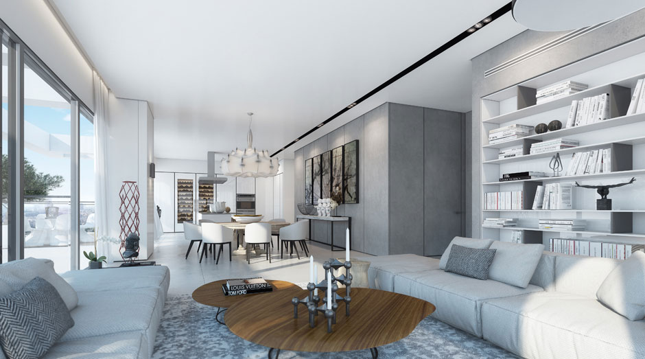 Living, Dining Space, Apartment in the W Boutique Tower, Tel Aviv