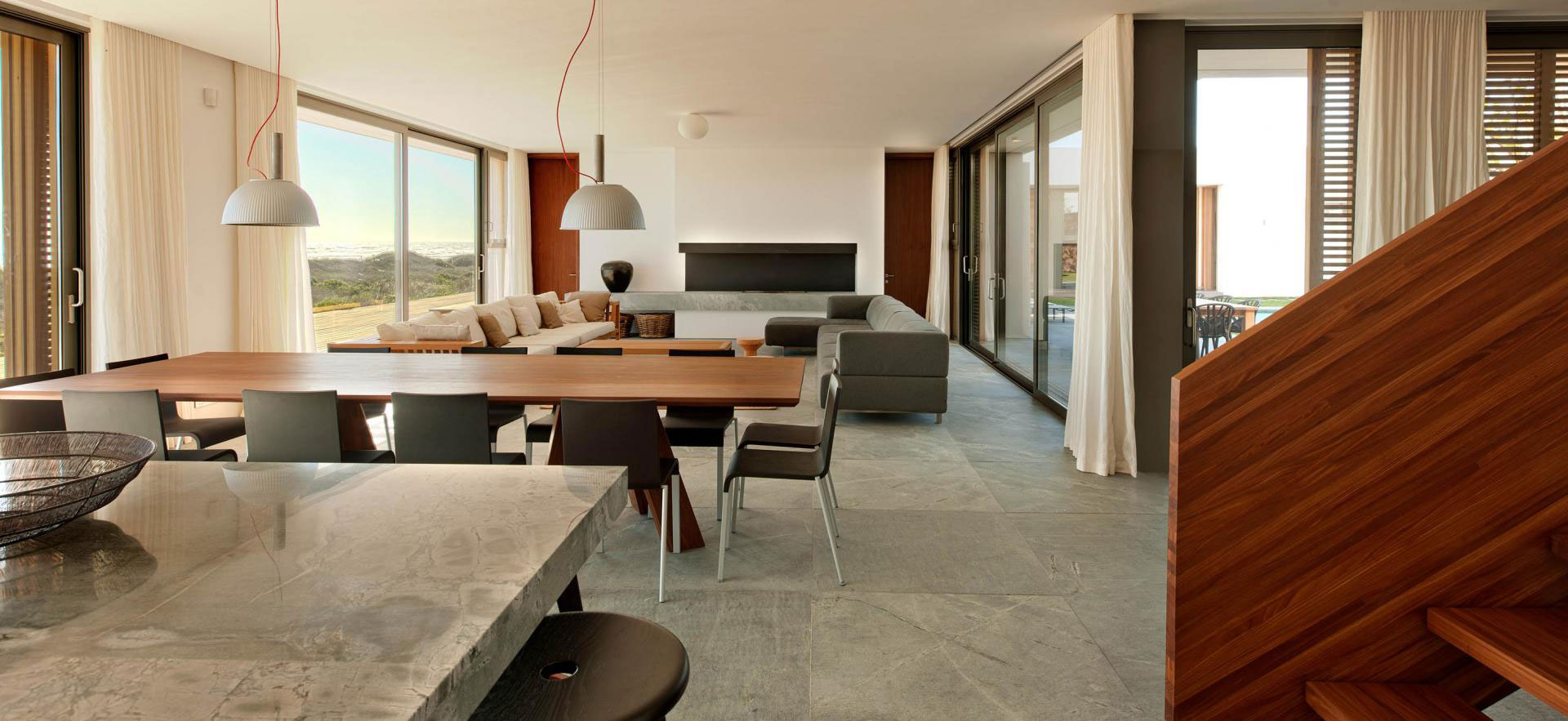 Open Plan Living Space, Dining Table, Beach Front Home in Cape Town, South Africa