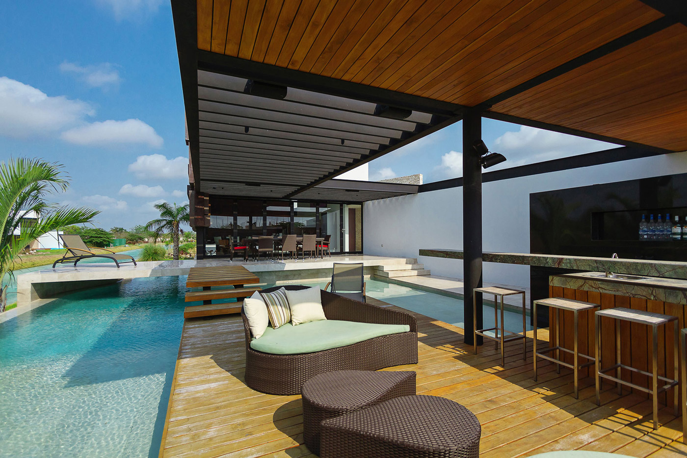 Outdoor Bar, Furniture, Wooden Deck, Bridge Over the River, Pool, Contemporary Residence in Merida, Yucatan