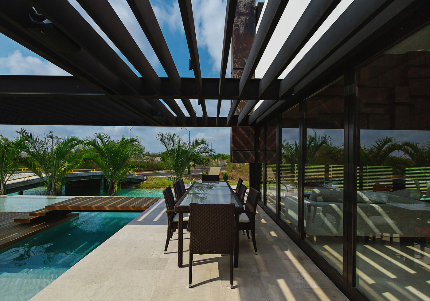 Outdoor Dining Table, Bridge Over Pool, Contemporary Residence in Merida, Yucatan