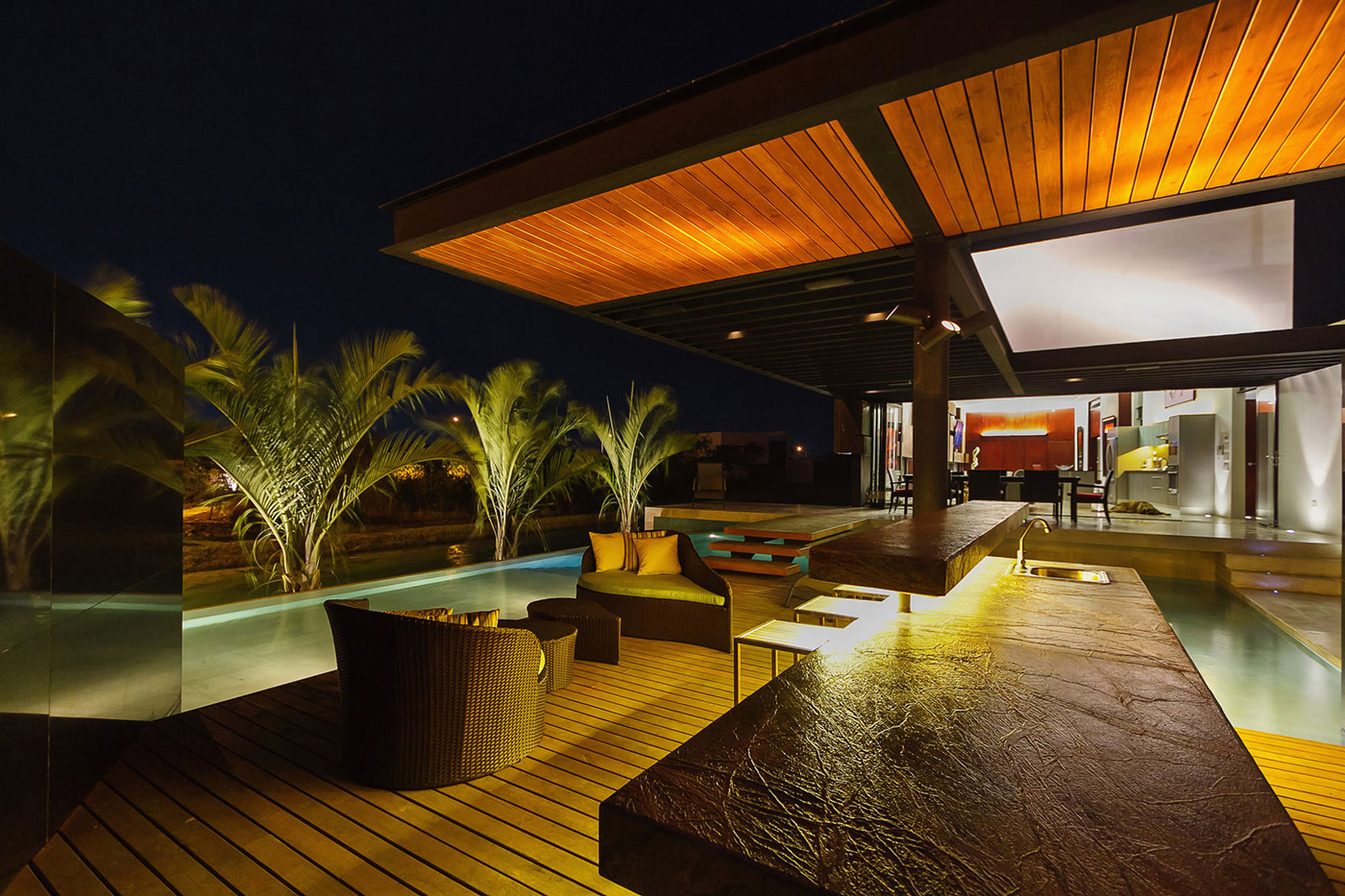 Outdoor Lighting, Pool, Bar, Terrace, Contemporary Residence in Merida, Yucatan