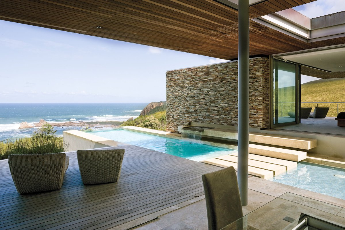 Pool, Bridge, Steps, Waterfall, Stone Wall, Cliff Top Home in Knyzna, South Africa