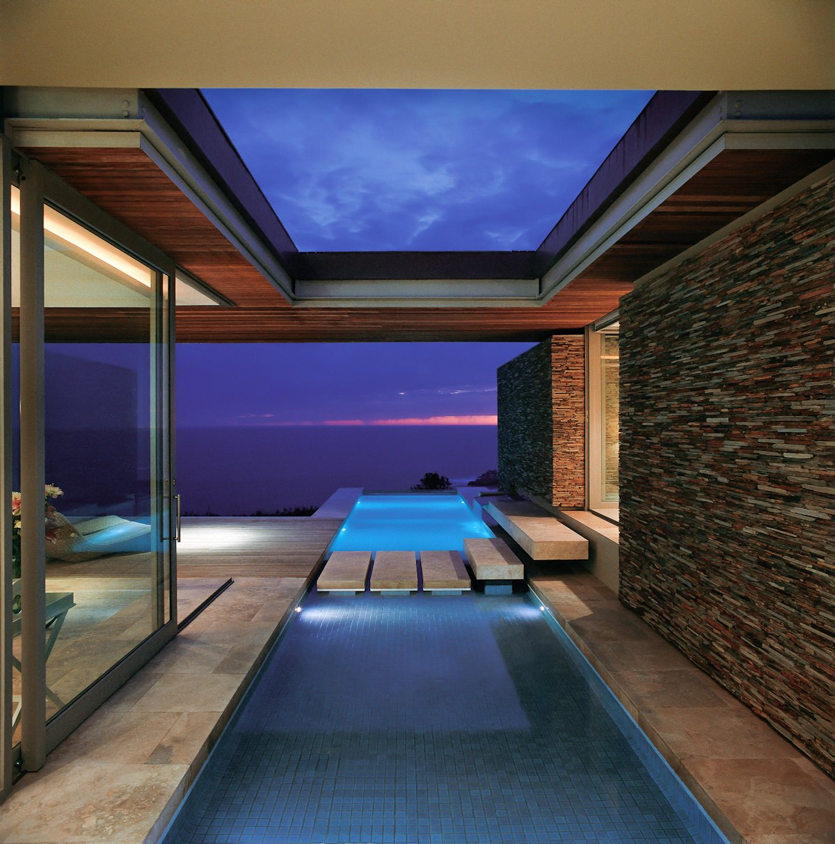 Pool, Bridge, Stone Wall, Glass Sliding Doors, Cliff Top Home in Knyzna, South Africa