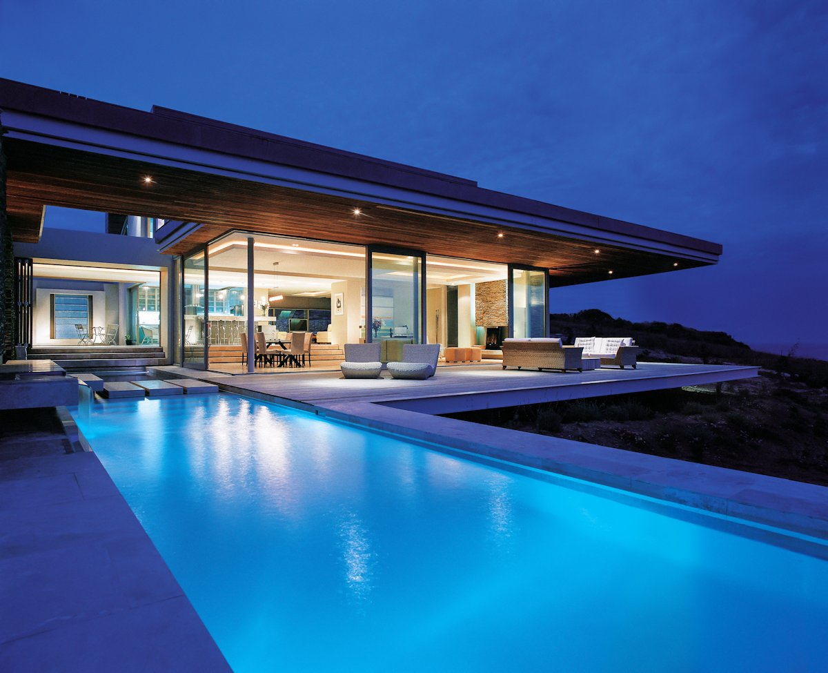 Pool, Lighting, Terrace, Evening, Cliff Top Home in Knyzna, South Africa