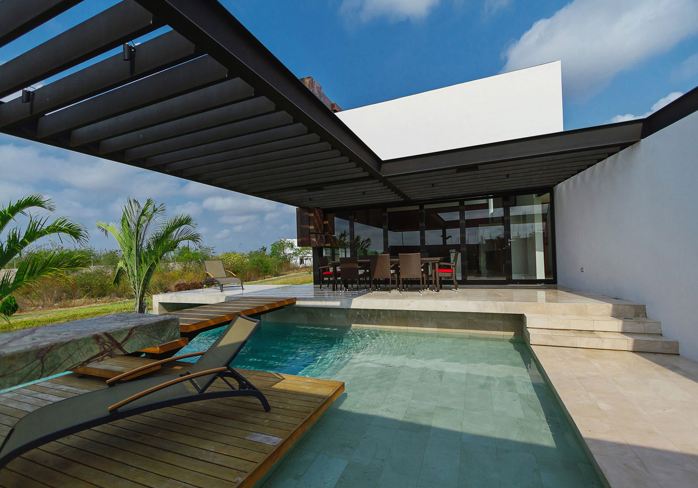 Pool, Terrace, Furniture, Contemporary Residence in Merida, Yucatan