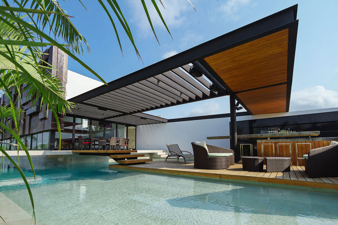 Pool, Veranda, Deck, Terrace, Outdoor Furniture, Contemporary Residence in Merida, Yucatan