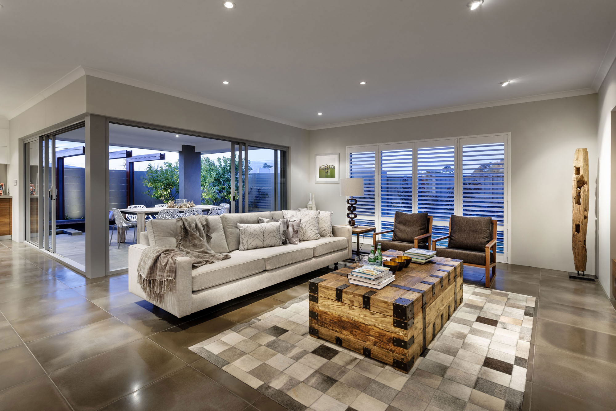 Rustic Wood Coffee Table, Sofa, Living Room, Modern Home in Wandi, Perth