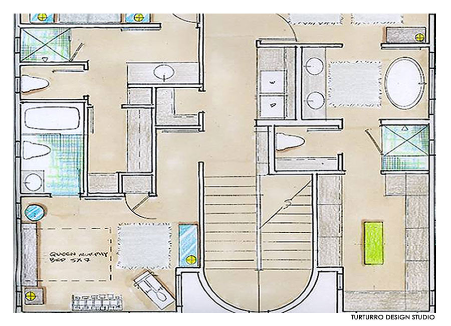 Second floor drawing eco friendly beach house in california for Beach house drawing