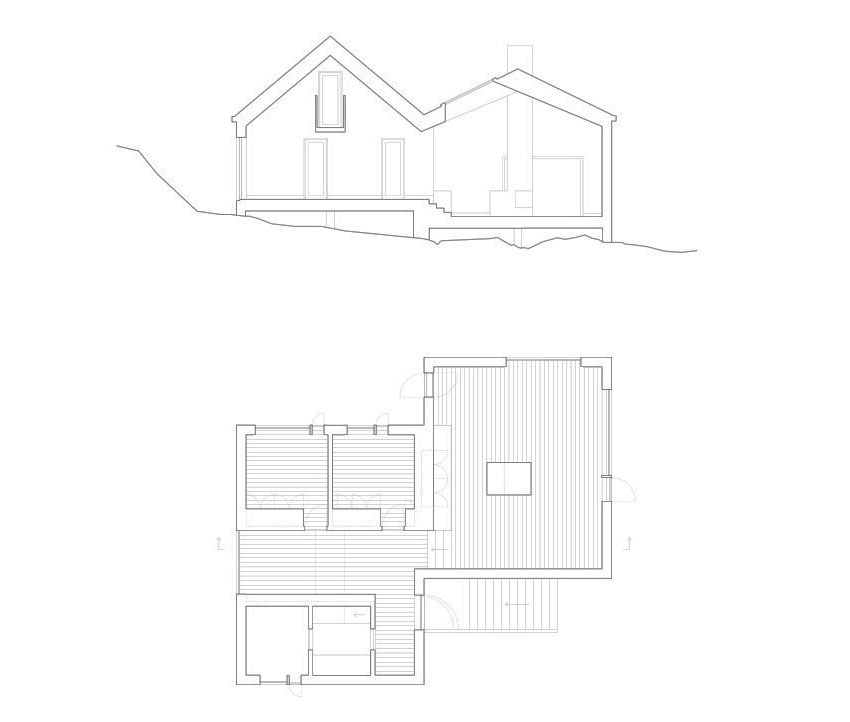 Section, Floor Plan, Vega Cottage in Vega, Norway