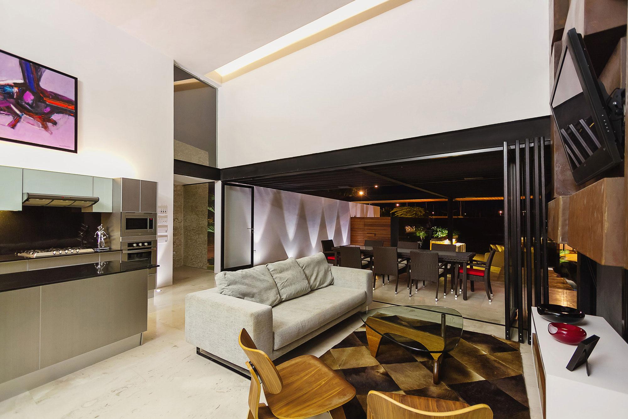 Sofa, Living Room, Glass Sliding Doors, Contemporary Residence in Merida, Yucatan