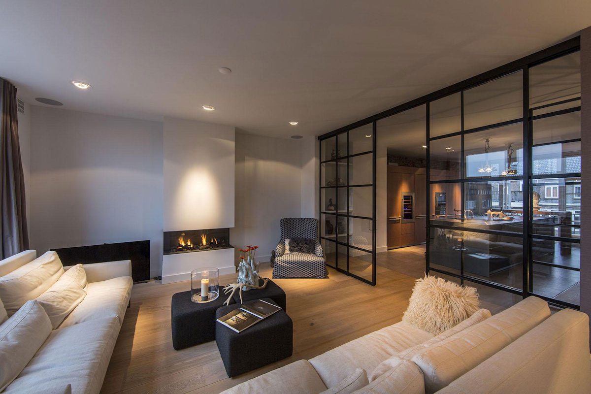 Sofas, Fireplace, Glass Wall, Living Room, Apartment in Amsterdam