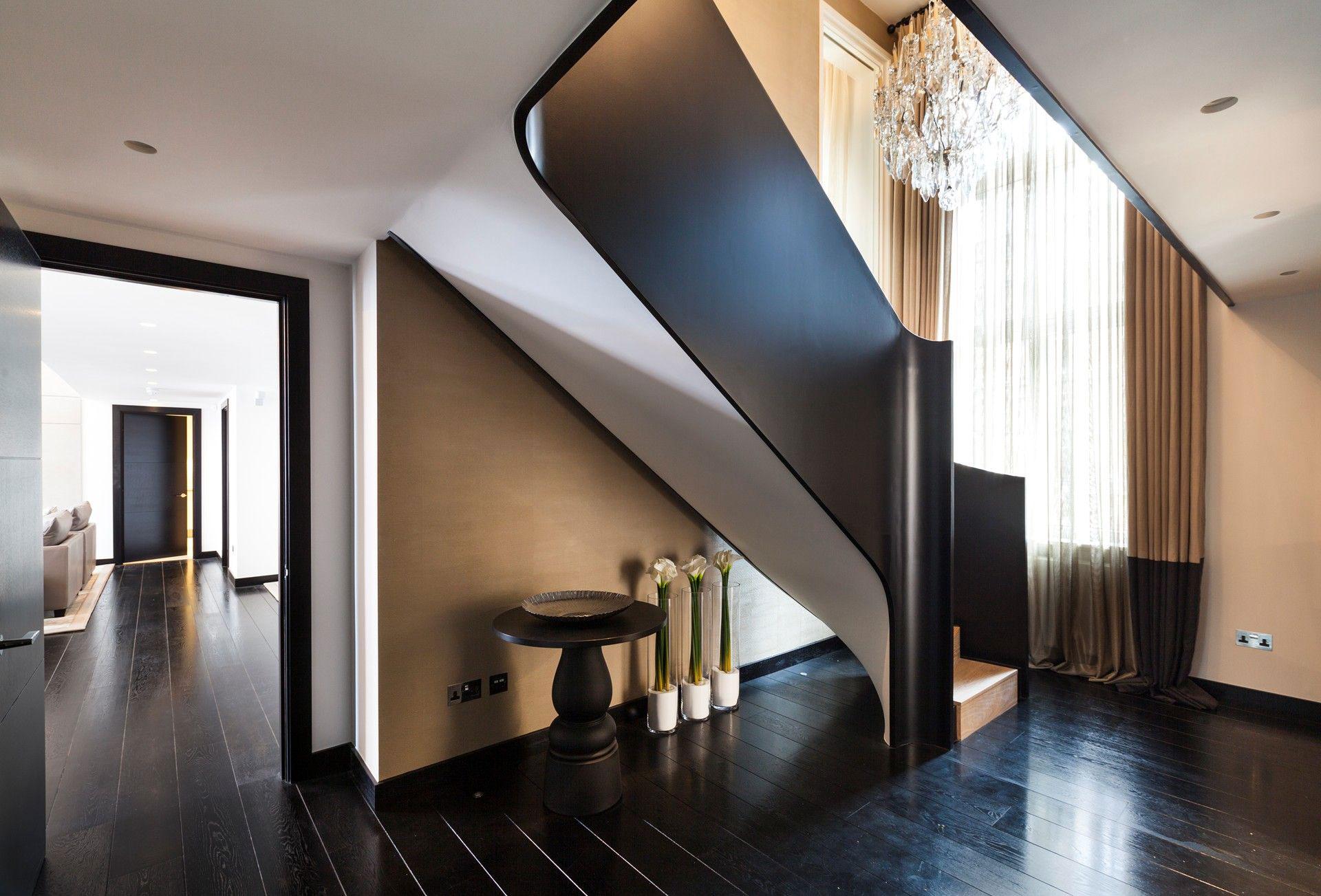 Stairs, Dark Wood Floor, Chandelier, Henrietta Street Apartment