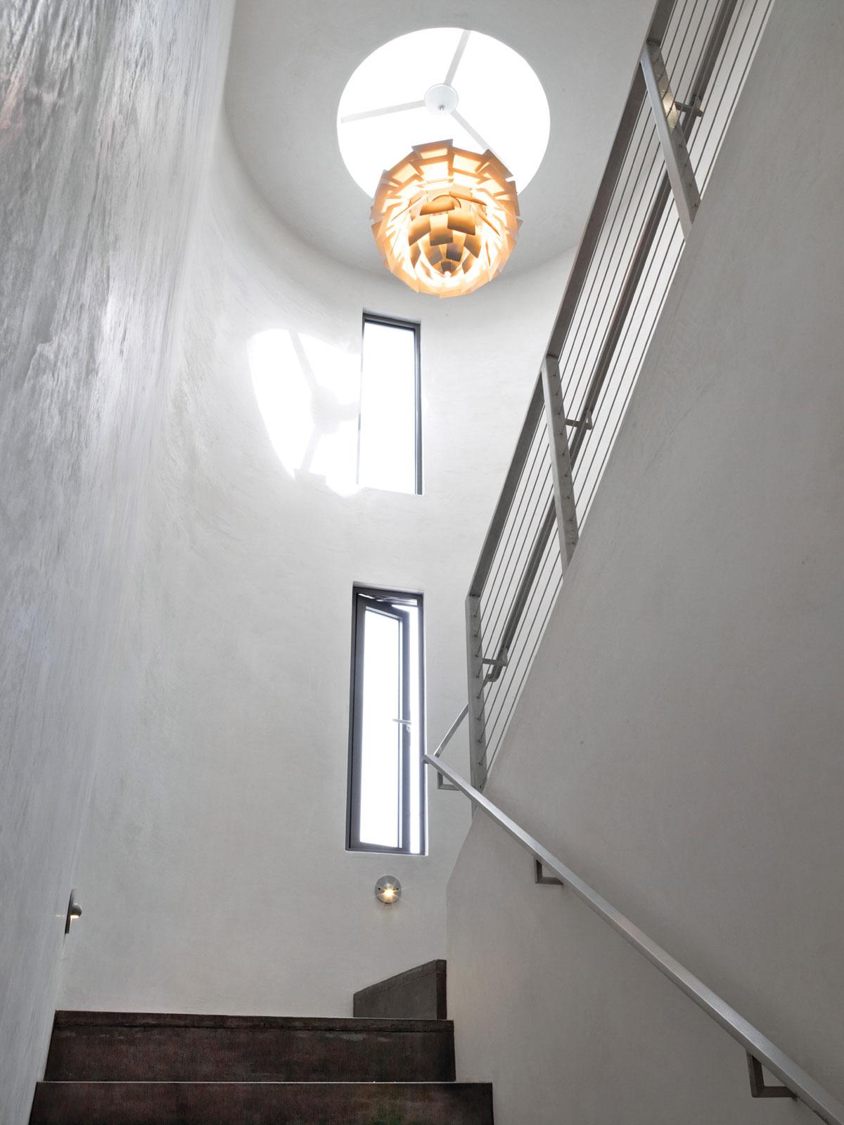 Stairway, Lighting, Eco-Friendly Beach House in California