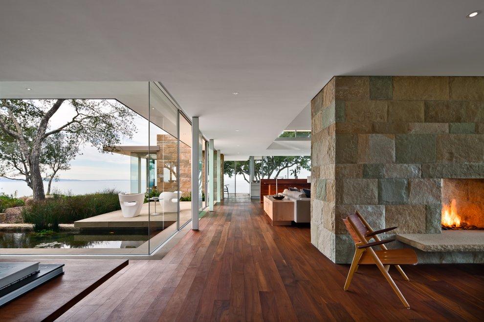 Stone Fireplace, Wood Flooring, Floor-to-Ceiling Windows, Hilltop Home in Carpinteria, California