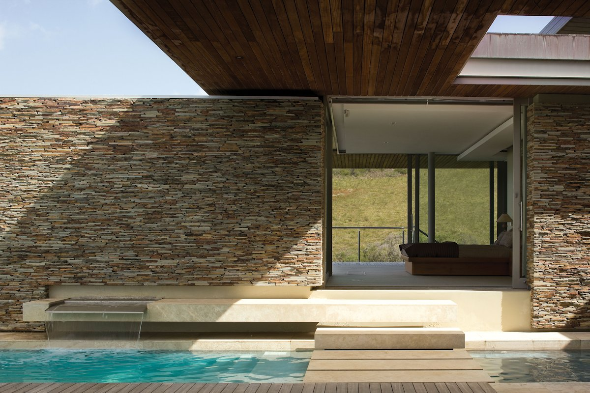 Stone Wall, Steps Over the Pool, Bedroom, Cliff Top Home in Knyzna, South Africa