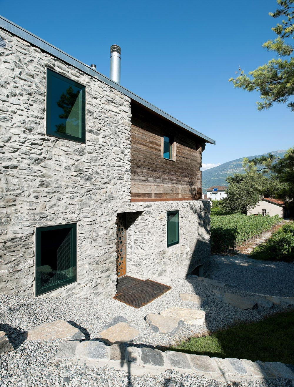 Stone & Wooden Walls, Home Remodel in Vétroz, Switzerland