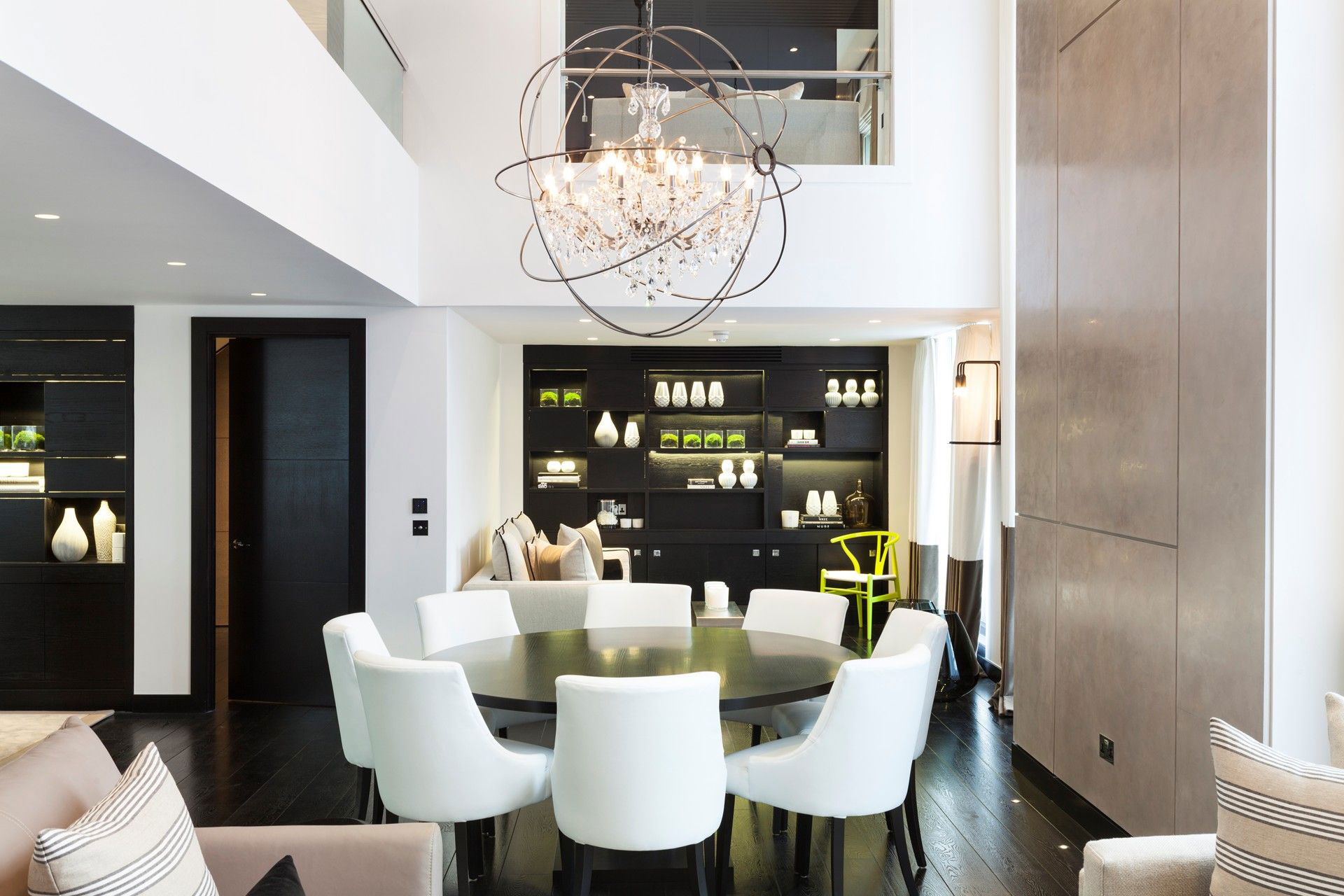 Stylish, Chandelier, Dark Wood, Dining Table, Floor, Henrietta Street Apartment