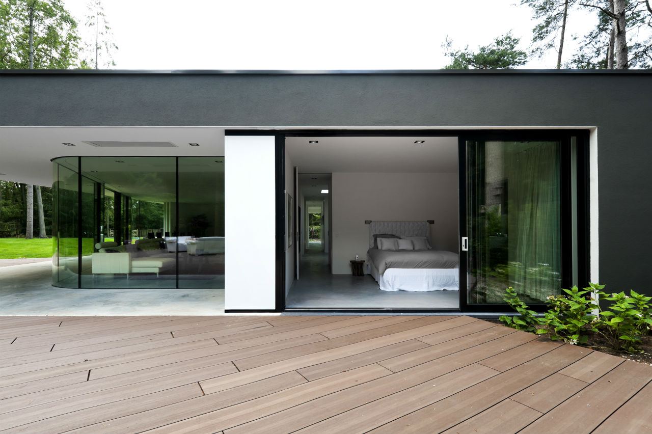 Terrace, Glass Sliding Doors, Bedroom, Modern Villa in Hattem, The Netherlands
