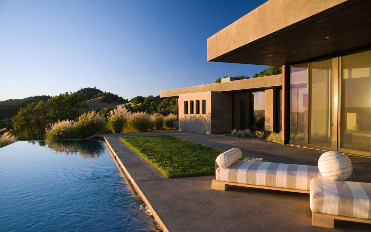 Terrace, Lawn, Pool, Home in the Sonoma Valley, California