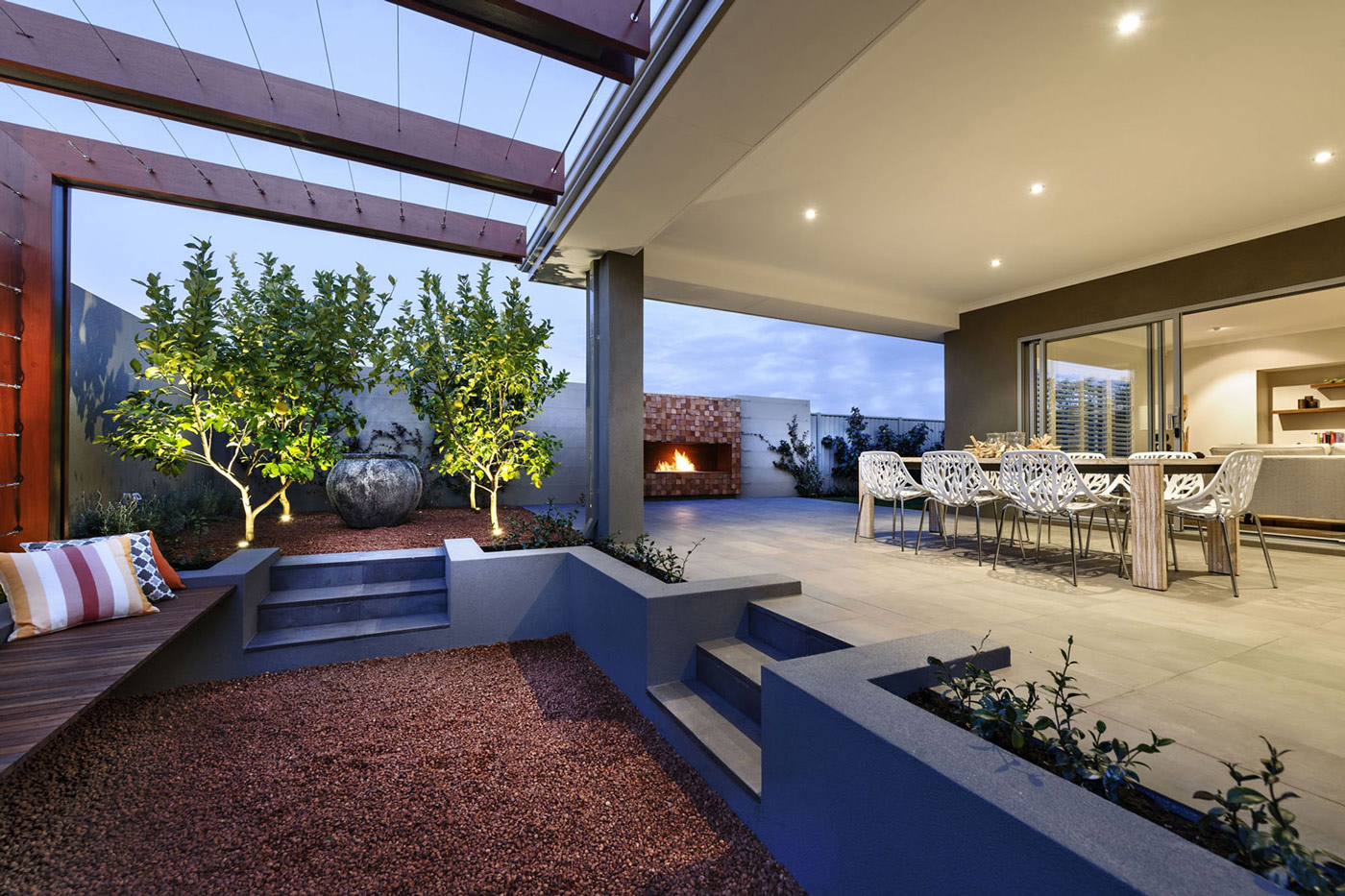 Terrace, Outdoor Dining, Fireplace, Modern Home in Wandi, Perth