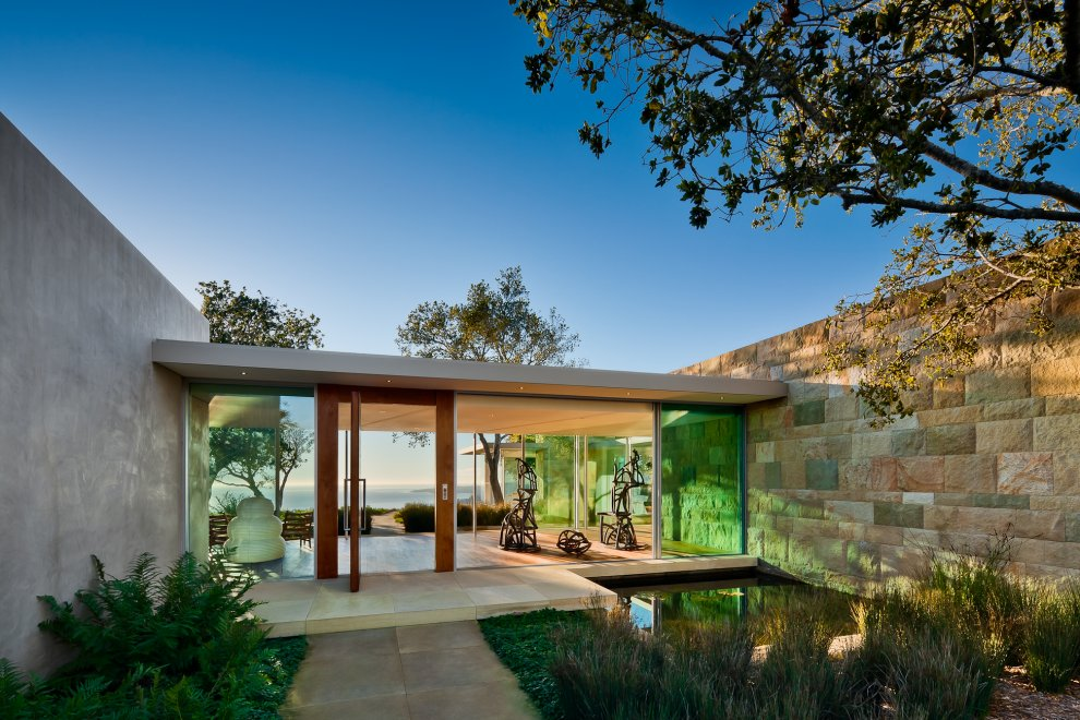 Water Feature, Glass Walls, Hilltop Home in Carpinteria, California