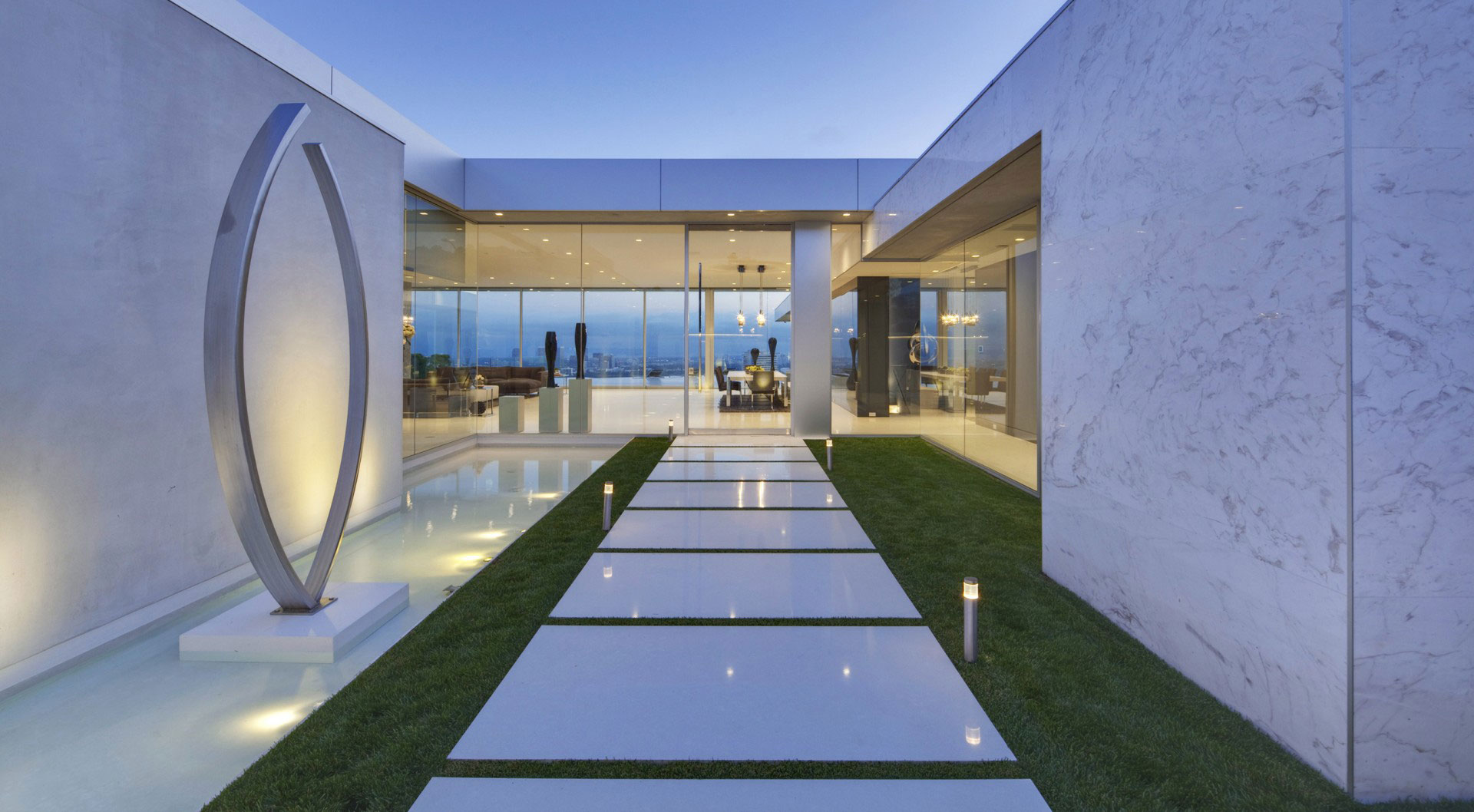 Water Feature, Sculpture, Marble Pathway, Courtyard, Tanager Residence in West Hollywood