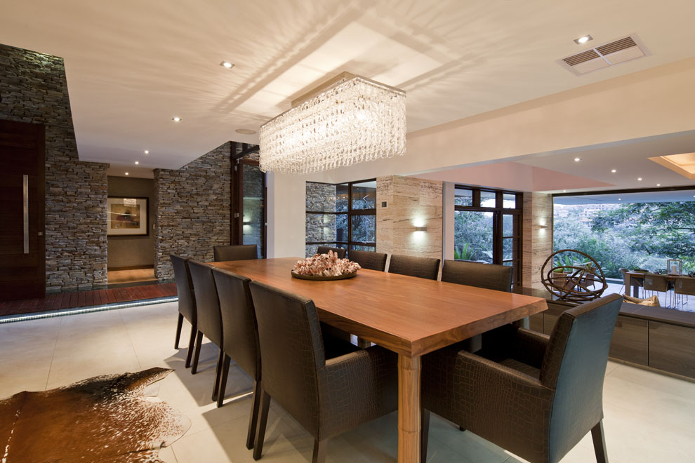 Wood Dining Table, Lighting, Dining Room, Home in Zimbali, South Africa